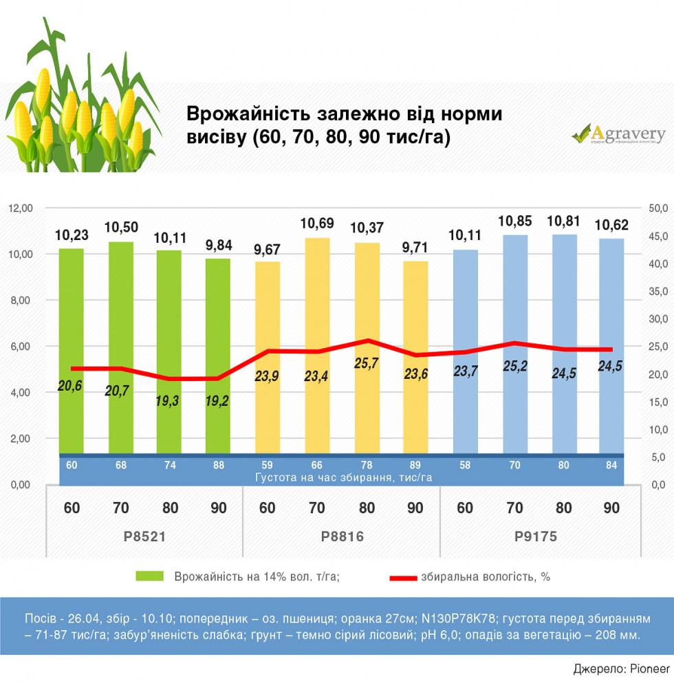 Врожайність залежно від норми висіву 2