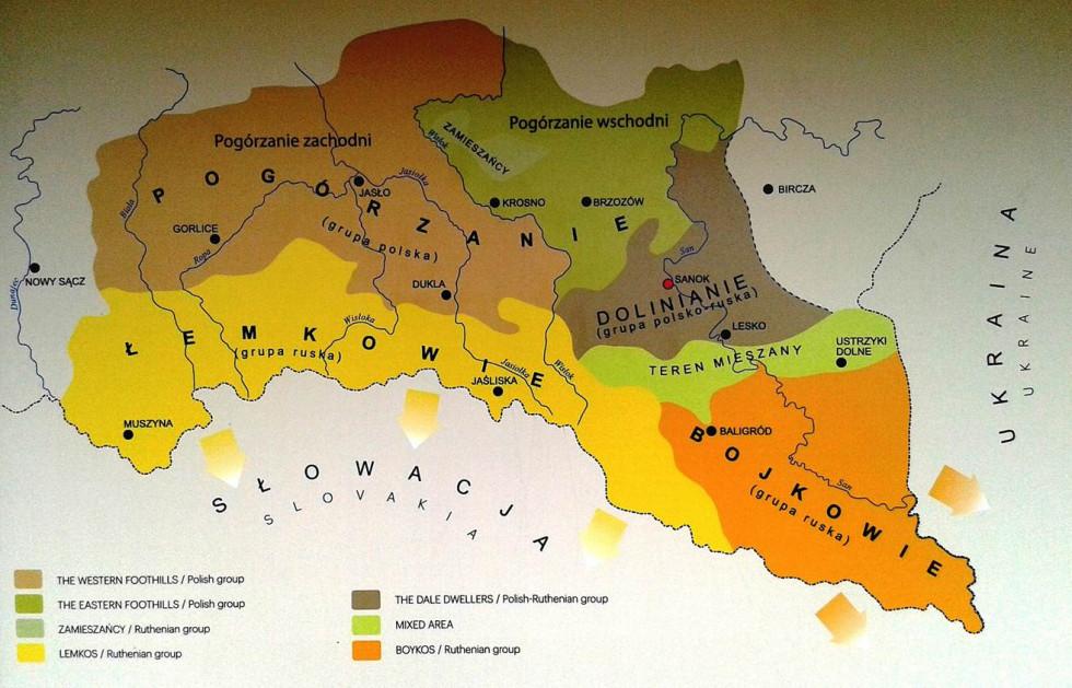Етнографічна мапа Підкарпаття
