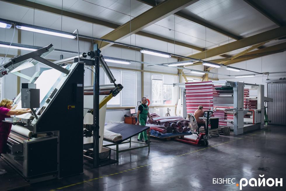 Тут відбувається контроль якості тканини та підготовка її до процесу оздоблення